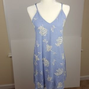 Lush | Periwinkle Blue Floral Embroidered Dress